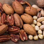 top view various organic nuts snack background 1