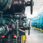 steel pipelines and cables in plant